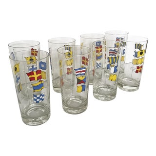 Vintage Set of 8 Nautical Flag Glasses