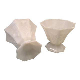 Milk Glass Octagonal Vases - A Pair