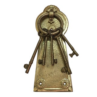 Vintage Brass Lock & Keys Door Knocker