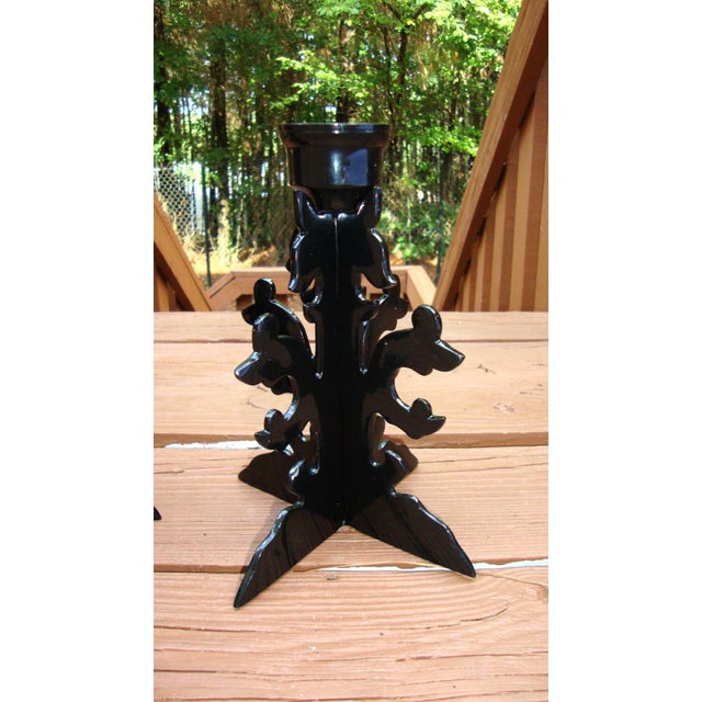 Modern Goth Black Metal Candle Holders - Image 10 of 10