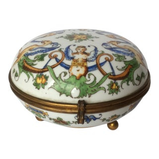 Colorful Antique French Gien Ceramic Box