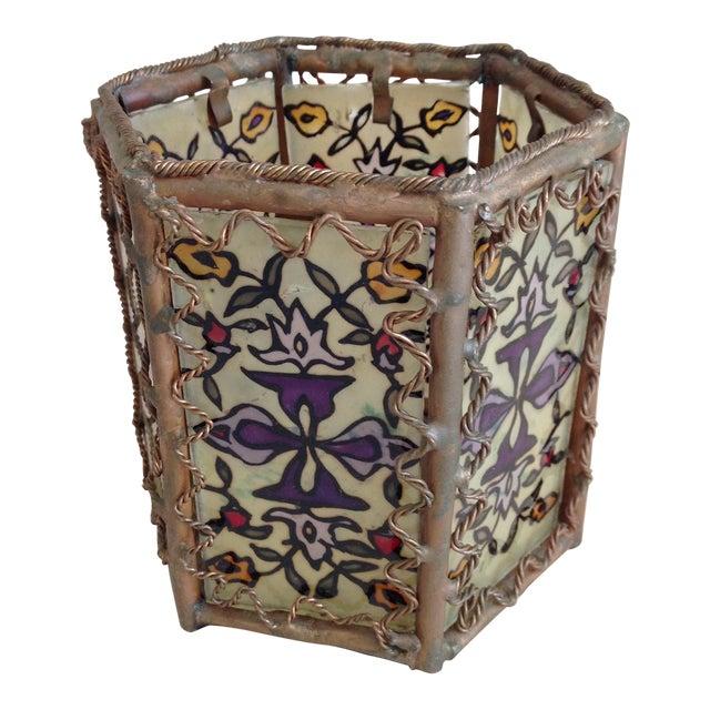 Bohemian Moroccan Brass & Glass Candle Lantern - Image 1 of 10