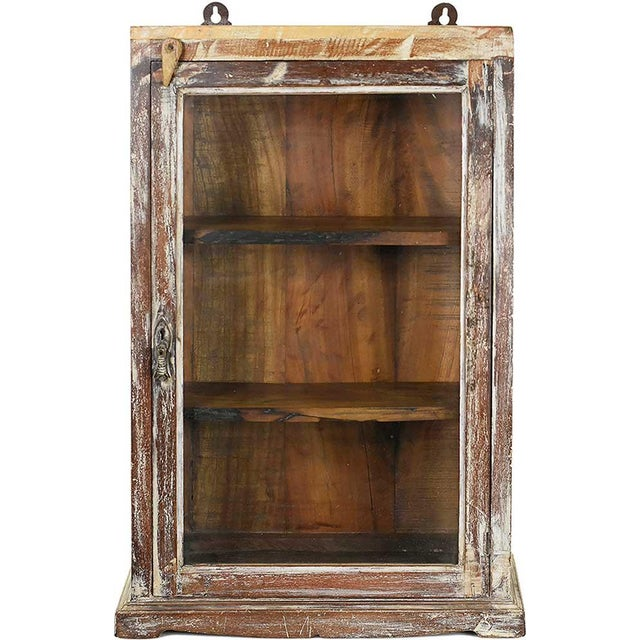 Rustic Brown Wood Showcase Wall Cabinet - Image 1 of 4