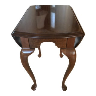 Ethan Allen Drop Leaf Solid Cherry Wood Accent Table
