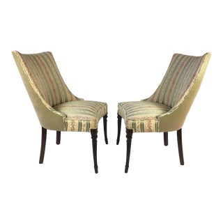 Hollywood Regency Slipper Accent Chairs - A Pair