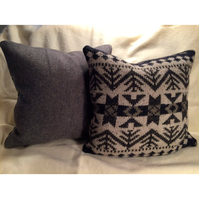 Vintage Blanket Pillows - Pair - Image 4 of 5