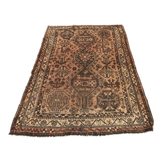 "Vintage Persian Shiraz Area 70-Year-Old Rug - 4'6"" x 6'3"""