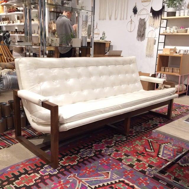 Image of Mid-Century Modern White Galax Scoop Sofa