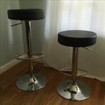Image of Leather & Chrome Adjustable Bar Stools - A Pair