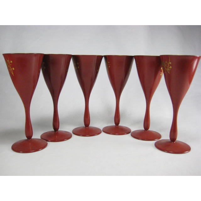 Red Lacquerware Martini Glasses - Set of 6 - Image 4 of 11