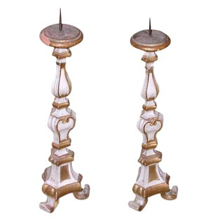 French Gold Leaf Alter Candlesticks - A Pair