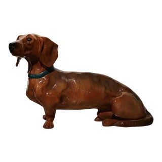 1920s French Faience Dachshund Figure