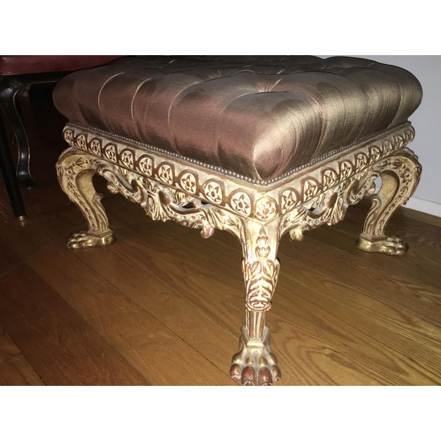 Empire Lion Paw Giltwood Tufted Ottoman - Image 9 of 10