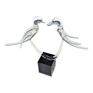 """Love Birds"" Mid-Century Modern Crystal Art Glass Sculpture"