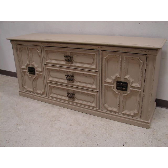 Mud Putty Painted Mediterranean Long Low Dresser | Chairish