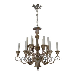 Painted Scroll Arm Italian Chandelier