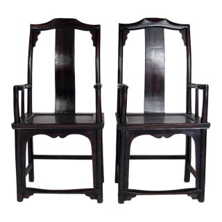 19th Century Chinese Ebony Accent Chairs - A Pair
