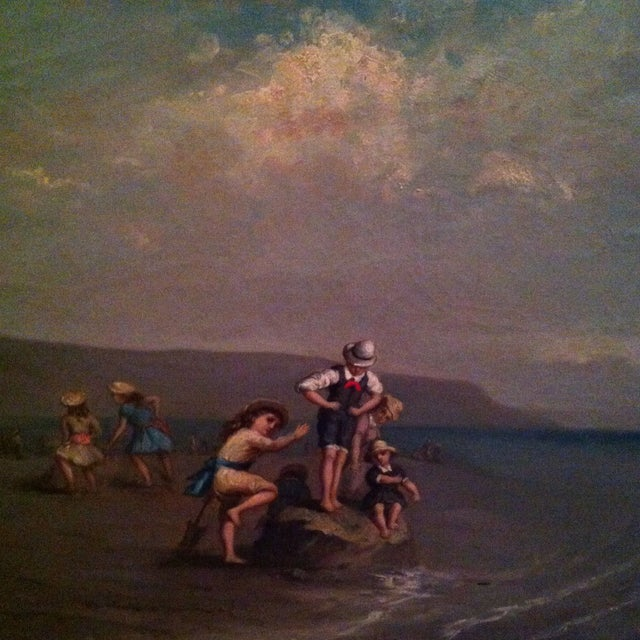 Antique French Painting Of Children On The Beach - Image 4 of 7