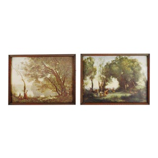 Early Jean Baptiste Camille Corot Framed Prints - A Pair