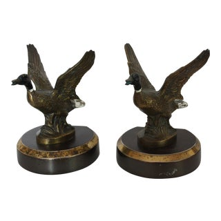 Vintage Brass Duck Bookends - Pair