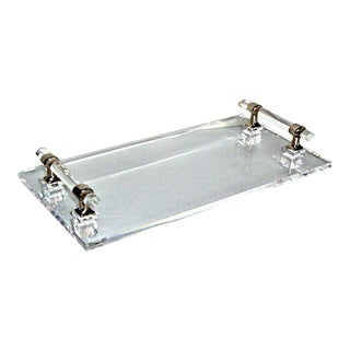 Chrome & Lucite Handled Tray