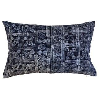 Indigo Batik Floral Linen Pillow