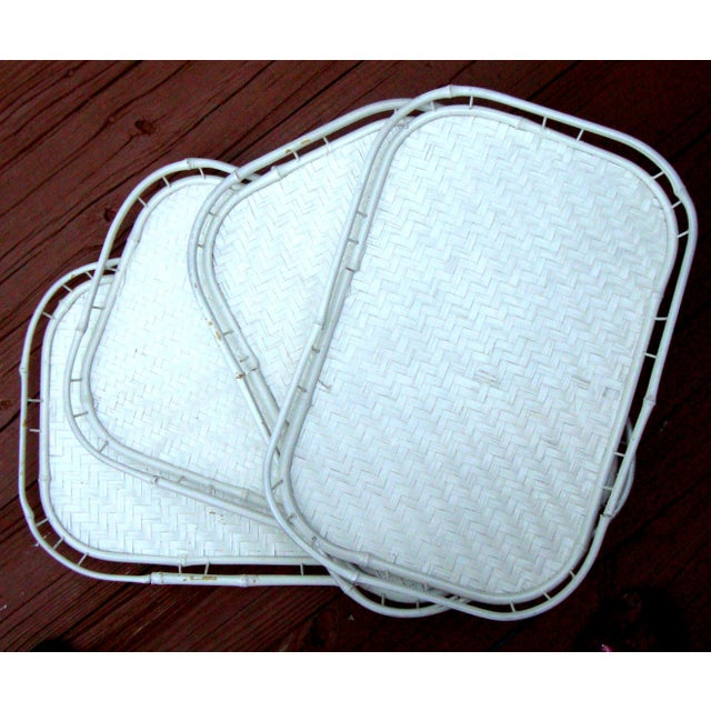 Hollywood Regency White Bamboo Rattan Trays - Image 4 of 11