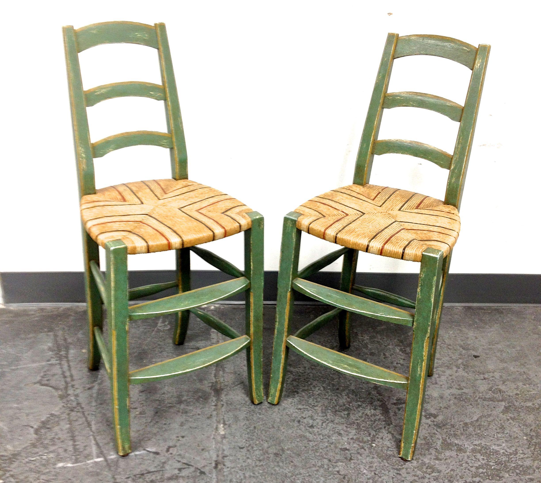 Image Of Custom Green Ladder Back Bar Stools Set Of 3