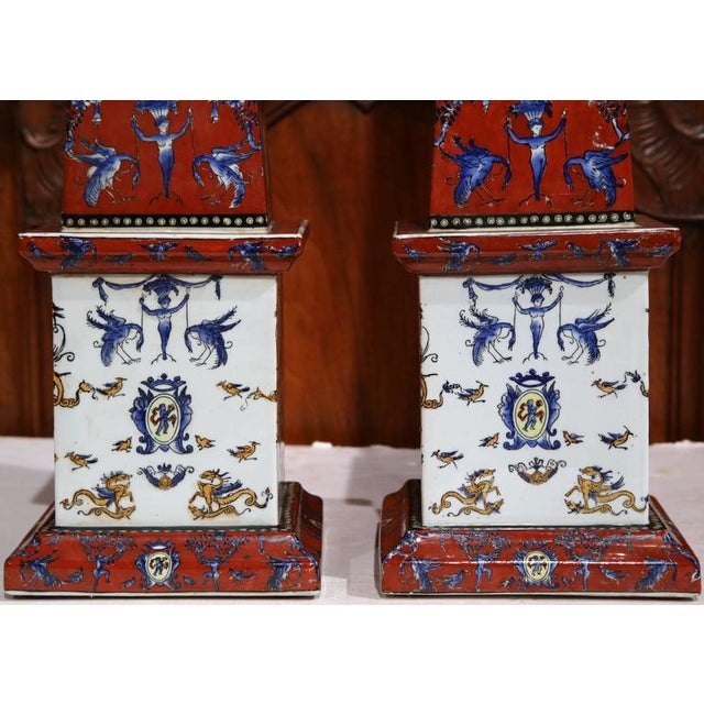 19th C. French Faience Obelisks - A Pair - Image 6 of 8