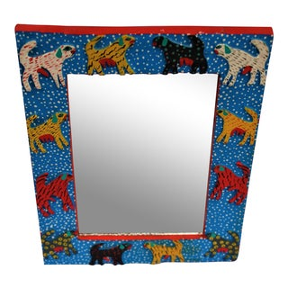 Colorful Dogs Folk Art Mirror