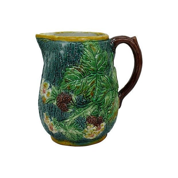Antique Majolica Green Leaf & Blue Pitcher - Image 1 of 6