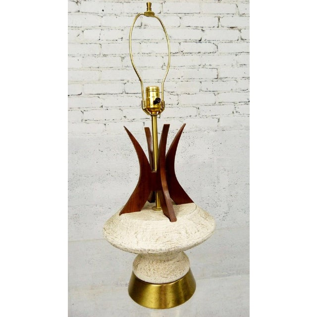 Plasto Teak and Chalkware Lamps - A Pair - Image 2 of 5