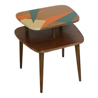 Mid-Century Geometric Painted Tiered Side Table