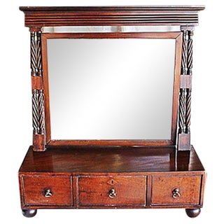 Antique English Mahogany Shaving Mirror