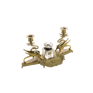 Double Griffin Brass Candleholders With Crystal Inkwell