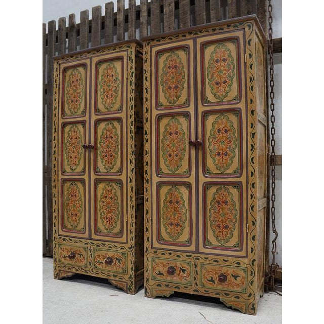 Bohemian Hand Painted Linen Chests - A Pair - Image 3 of 4