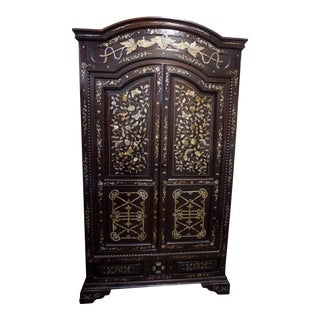 20th Century French Colonial Vietnamese Cabinet with Mother of Pearl Inlay