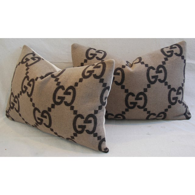 """23"""" X 16"""" Custom Tailored Gucci Cashmere & Velvet Feather/Down Pillows - Pair - Image 6 of 11"""