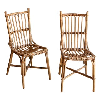 Vintage Rattan Boho Chic Dining Chairs - a Pair