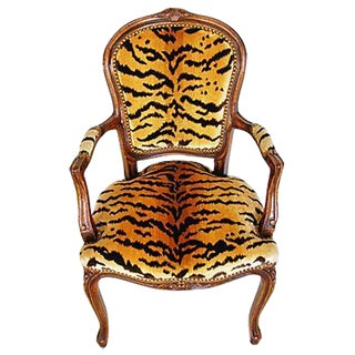 1940s Italian Scalamandre Le Tigre Velvet Armchair