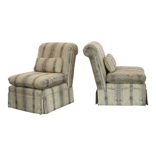 Striped Roll Back Slipper Chairs - A Pair