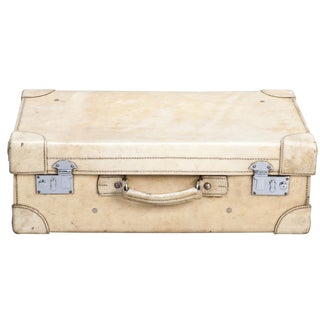 Vintage English Vellum Suitcase in Ivory