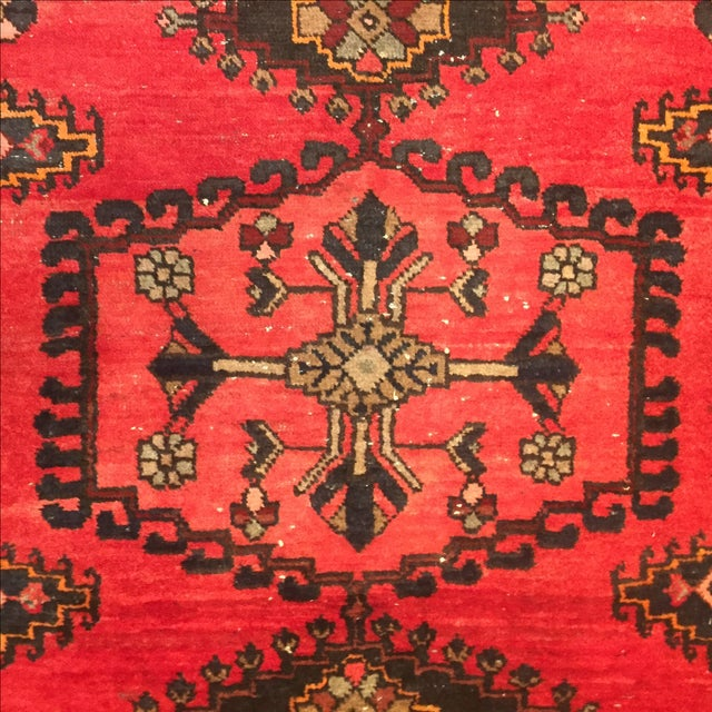 Vintage Hand-Knotted Red Rug - 3′8″ × 4′10″ - Image 5 of 6