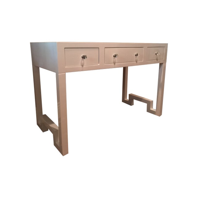 Worlds Away Reece White Lacquer Desk - Image 1 of 5
