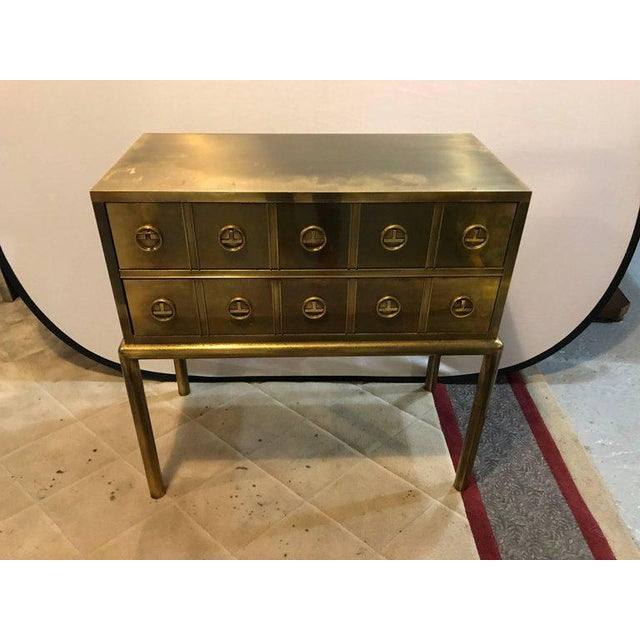 Mastercraft Brass Two-Drawer Small Chest of Drawers Cabinet - Image 2 of 9