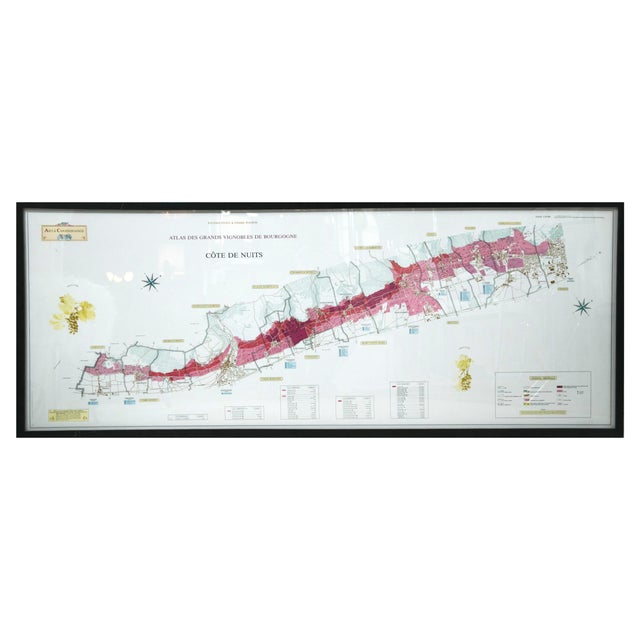 Framed French Topographical Map of Wine Region - Image 1 of 9