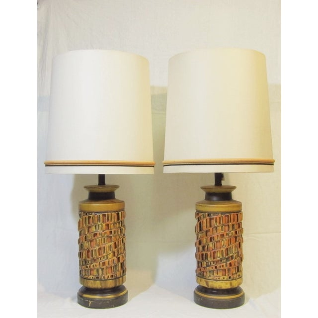 Image of Vintage 1960s Ceramic Table Lamp - A Pair