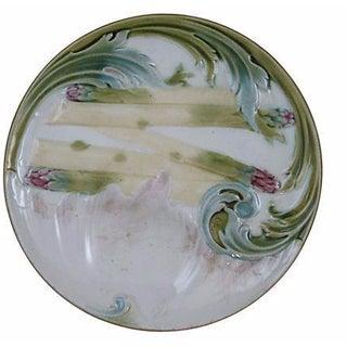 Luneville Art Nouveau Majolica Asparagus Plate