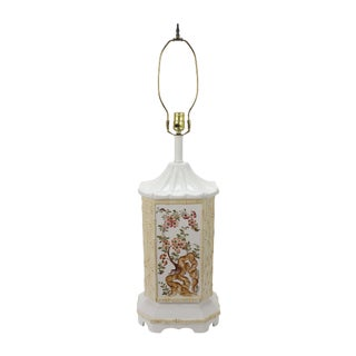 Mid-Century Ceramic Chinoiserie Lamp