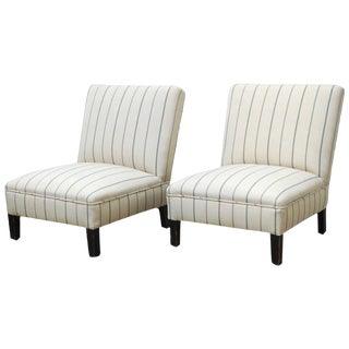 French Linen Striped Slipper Chairs - a Pair